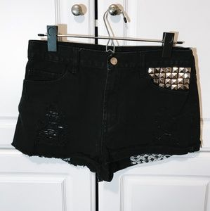 """High Waisted Black Shorts With """"Silver Rock Studs"""""""